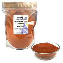 ClearLee Moroccan Red Clay Cosmetic Grade Powder - 2 LB 100% Pure Natural Powder - Great For Skin Detox, Rejuvenation, and More - Heal Damaged Skin - DIY Clay Face Mask