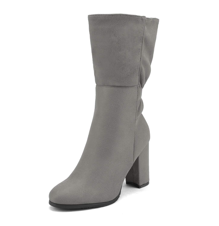 DREAM PAIRS Women's Mid Calf High Heel Boots