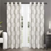 Exclusive Home Curtains Akola Medallion Linen Jacquard Grommet Top Curtain Panel Pair, 54x96, Dove Grey, 2 Piece