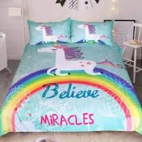 Sleepwish White Unicorn Bedding Rainbow Unicorn Duvet Cover 3 Piece Mint Green Kids Girls Cartoon Bed Set Cute Horse Gifts (Twin)
