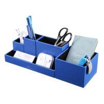 Vlando VPACK Office Desk Organizer - Leatherette 5-Compartment Desktop Stationery Storage Box Pen Holder (Starry Blue)