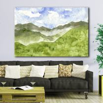 wall26 Canvas Wall Art - Watercolor Style Landscape Painting a Spring Valley Green Grass - Giclee Print Gallery Wrap Modern Home Decor Ready to Hang - 16x24 inches