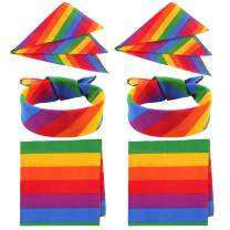 Unime 6 Pack Rainbow Bandana Unisex Square Scarf for Party Celebration Supplies