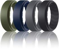 Dookeh Breathable Mens Silicone Wedding Rings, Rubber Ring Bands for Men, Black Blue Camo Engagement Band, Best for Workout, 1-4-7 Pack