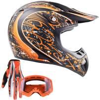 Typhoon Adult ATV MX Helmet Goggles Gloves Gear Combo Matte Orange w/Orange (XXL)