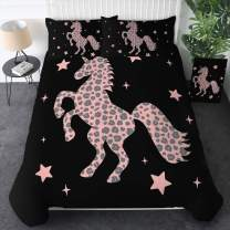 Sleepwish Duvet Cover Pink Unicorn Silhouette Pattern Stylish Leopard Dots Print Bedding Full Size 3 Pieces Cute Horse Bed Set with 2 Pillow Shams for Kids Teens Girls