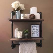 "Industrial Pipe Shelf,Rustic Wall Shelf with Towel Bar,24"" Towel Racks for Bathroom,2 Tiered Pipe Shelves Wood Shelf Shelving"