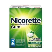 Nicorette Nicotine Gum Fresh Mint 2 milligram Stop Smoking Aid 100 count