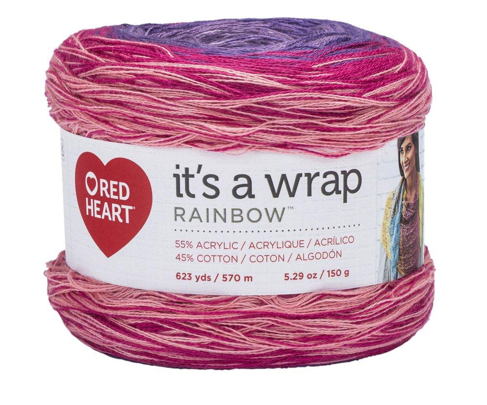 RED HEART E862.9357 Wrap Rainbow Yarn, Parfait