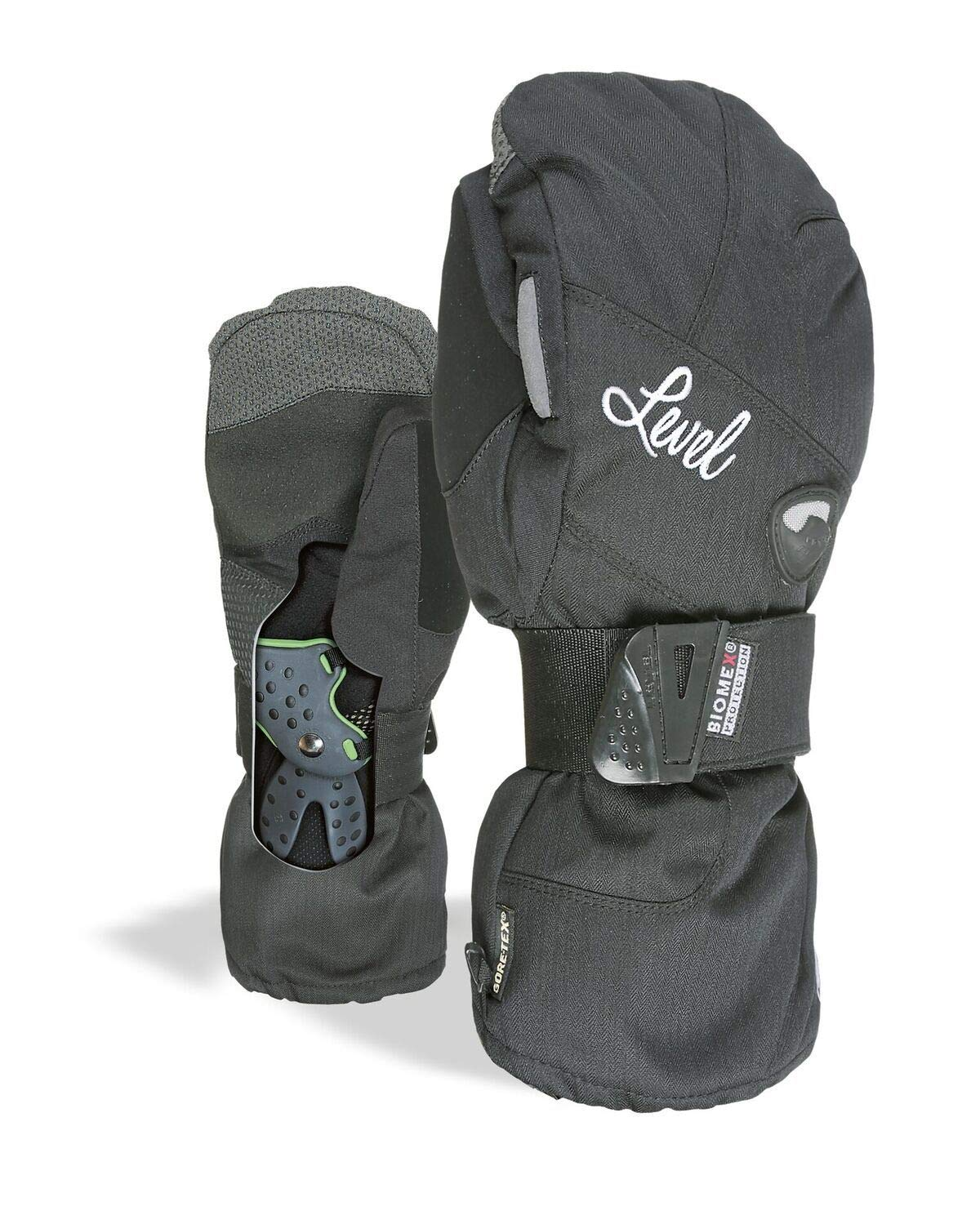 """Level Half Pipe""""Plus"""" Womens Snowboard Mittens with BioMex Wrist Guards, Waterproof GoreTex Shell, Warm ThermoPlus Liner"""