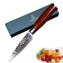 Yarenh Paring Knife 3.5 inch,High Carbon Japanese Damascus Steel Blade Chef Knife,Sharp Home Kitchen Knives,Dalbergia Wood Handle,Gift Box Packaging,Professional Fruit knife HTT-Series