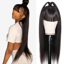 Nadula Transparent Lace Front Wigs With Bangs Pre Plucked Straight 13x4 Lace Wig Remy Virgin Human Hair 150% Density Natural Color (24inch)