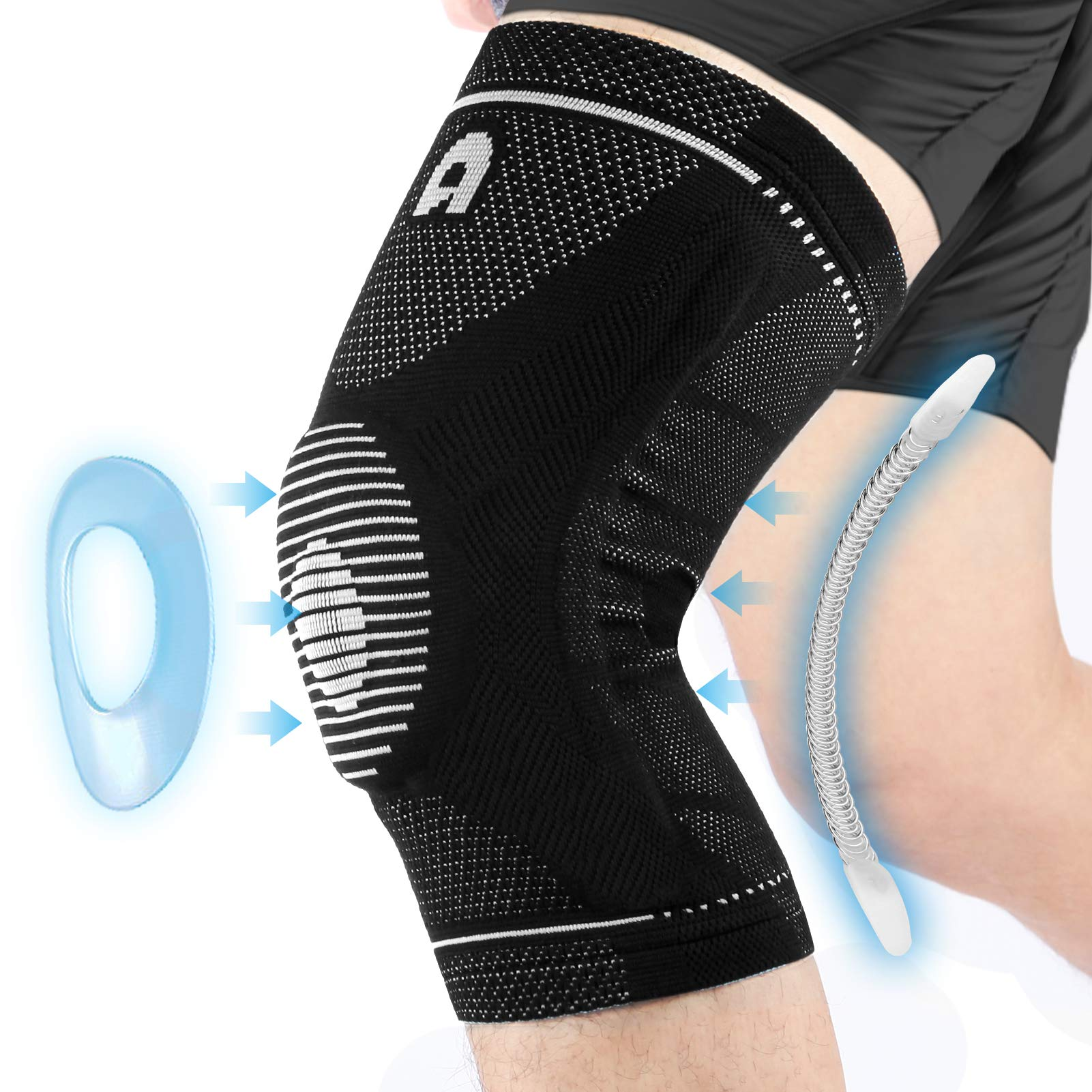 Professional Sports Knee Brace with Side Stabilizers, High Elasticity Knee Compression Sleeves For Men Women, Knee Protection Breathable and Non-slip For Running, Basketball, Working out, Arthritis