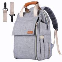 Diaper Bag Backpack,Multifunction Waterproof Travel Diaper Backpack Maternity Baby Nappy Changing Bags for Mom/Dad with Changing Pad,Large Capacity,Waterproof,Stroller Straps and Stylish (B Grey)