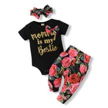 JOMOO Baby Girl Clothes Infant Short Sleeve Romper + Floral Shorts Set + Headband Summer Outfits