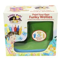 Tierra Garden 7-LP419 Little Pals Kids Paint Your Own Funky Wellies, Green with Blue Trim, Size Large US 13.5