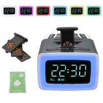 Scent Alarm Clock for Bedroom with USB Charger;4 Perfume Capsules;7 Colors Night Light Changing;Digital Clock;Aroma Snooze/Wake Up Alarm Sounds;Dimmer;12/24H;DST for Bedside Children Adults Elderly