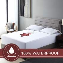 EXQ Home King Size Waterproof Mattress Cover,Breathable & Noiseless King Mattress Protector,Fitted 10''-18'' Deep Pocket