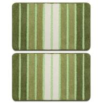 Bath Rug, Door Mat, Soft and Absorbent Bathroom Mat, Machine Wash/Dry, Anti-Slip and Plush Bath Mat for Bathroom, Living Room and Laundry Room(15.7x23.6+15.7x23.6, Green)