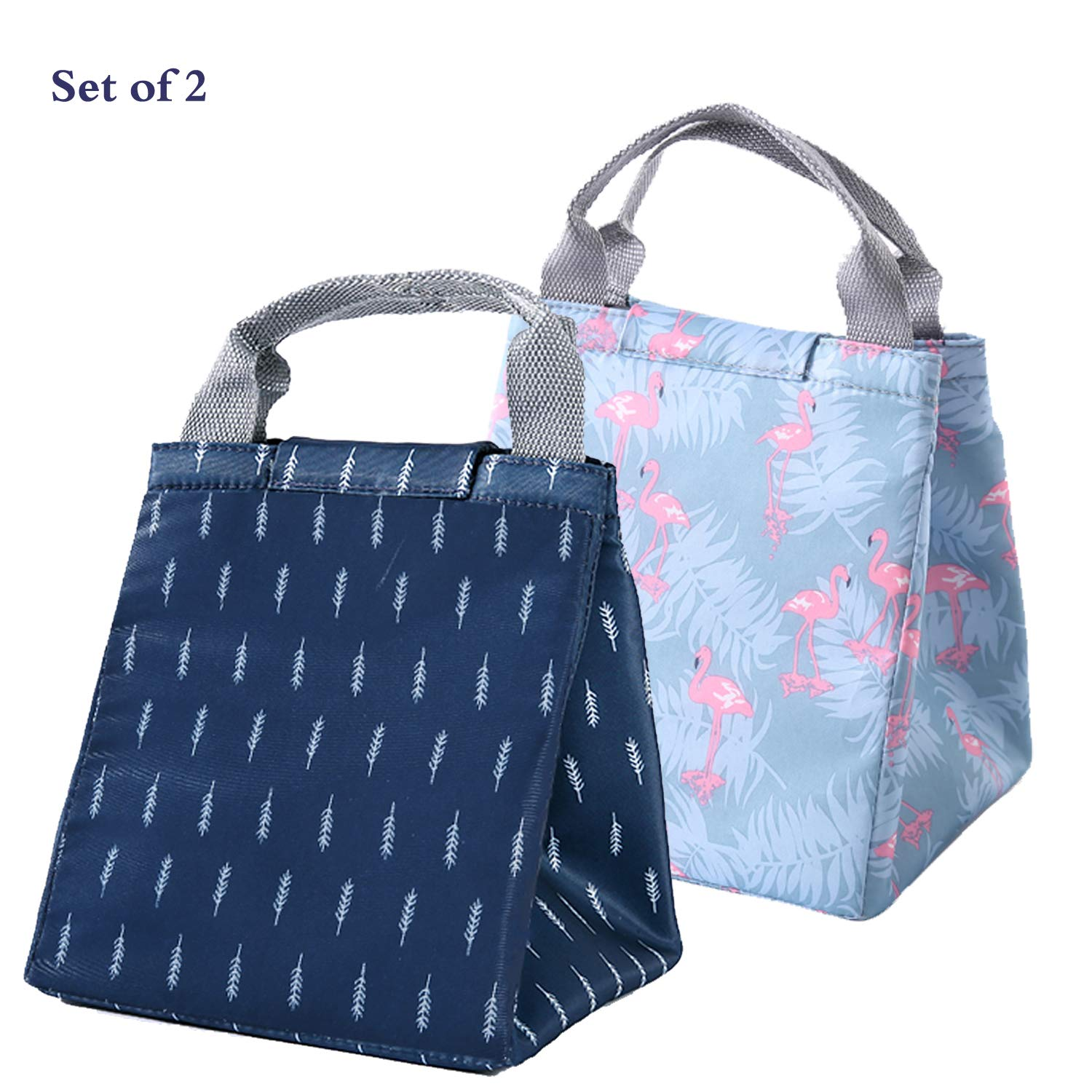 Cute Reusable Cotton Lunch Bag Insulated Lunch Tote Soft Bento Lunch Bags For Women (Feather Flamingo Lunch Bag)