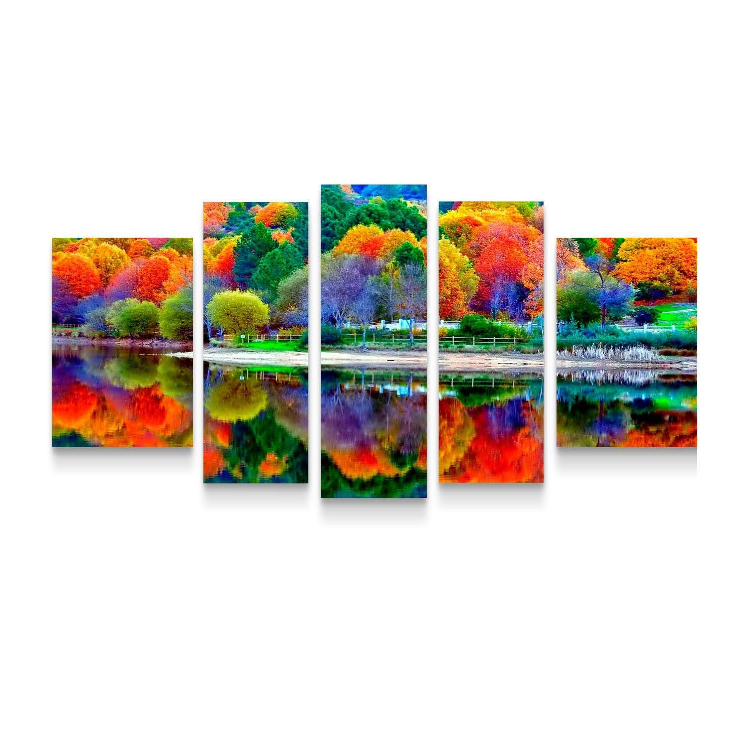 Startonight Canvas Wall Art All Forest Colors in Water Reflection - Flowers 36 by 71 Inches Set of 5