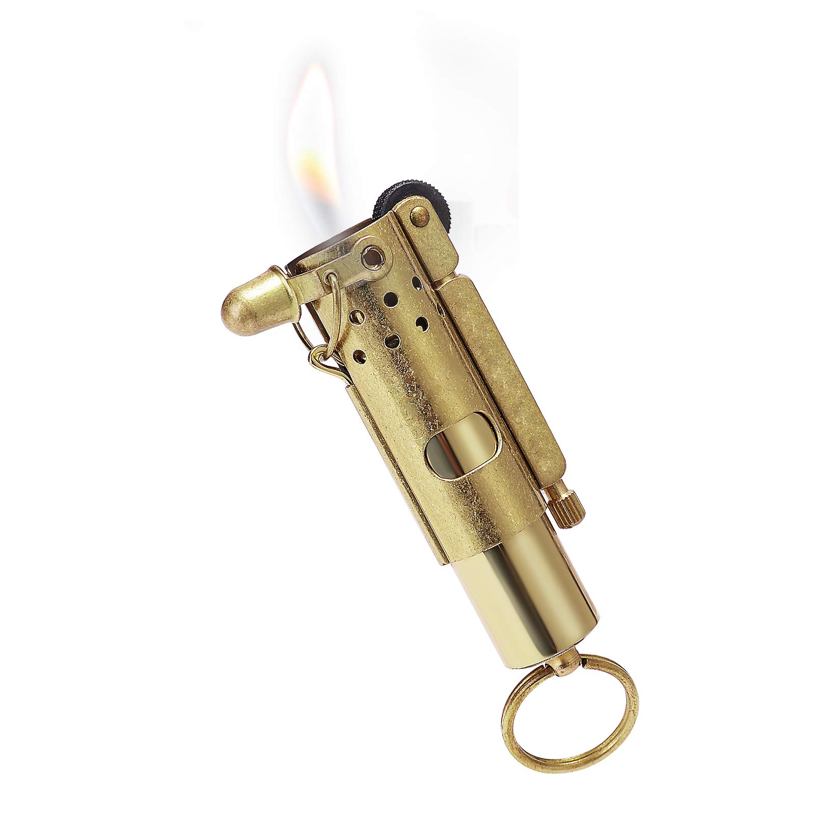 YUSUD Vintage Trench Lighter, Antique Keychain Flint Lighter Fluid Refillable, Cool Pipe Lighters Windproof, Unique Pure Copper Gifts for Men