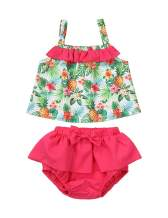 Toddler Infant Baby Girls Summer Clothes Flower Sling Tops + Bow-Knot Short Beachwear Outfits