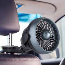 Car Fan, Battery Operated USB Car Fan with Aroma Function, 4 Speed,Work Quiet,360 Degree Rotatable Car Fan,5V Cooling Air Small Personal Fan for Car,Rear&Back Seat Passenger Dog Kids etc(Blue)