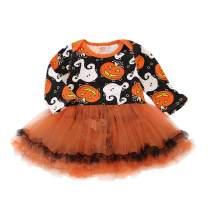 Baby Girls Halloween Tutu One Piece Romper, Infant Girl Pumpkin Dress Costume