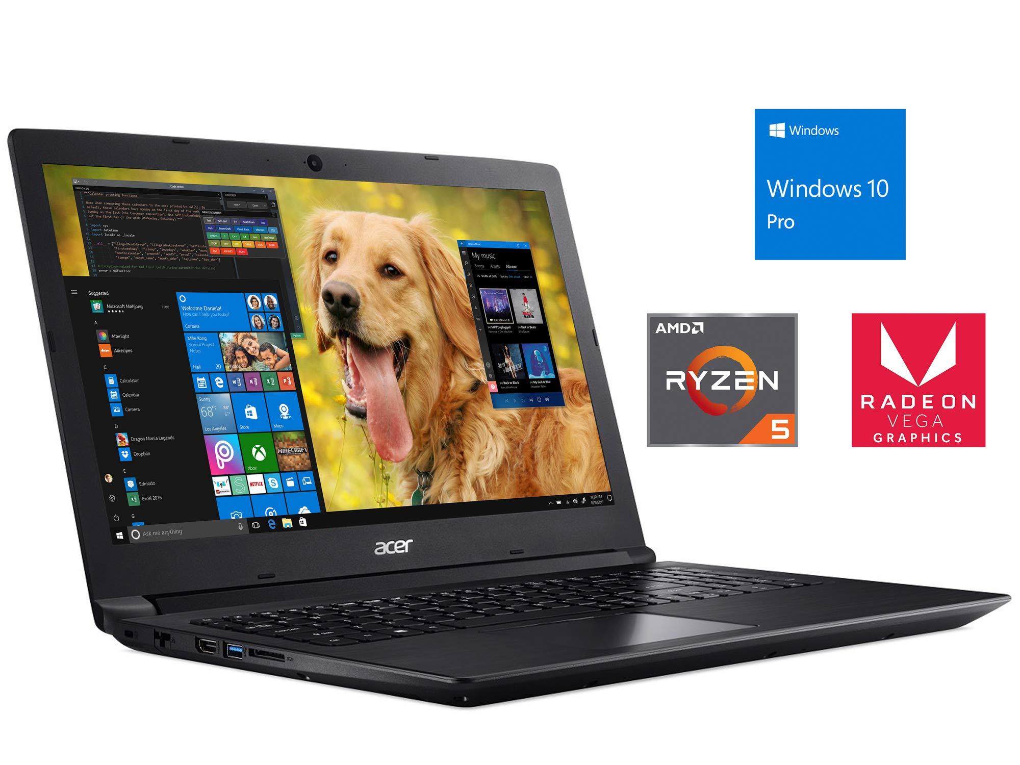 "Acer Aspire 3 Notebook, 15.6"" HD, AMD Quad-Core Ryzen 5 2500U Upto 3.6GHz, 16GB RAM, 256GB SSD, Radeon Vega 8, HDMI, Card Reader, Wi-Fi, Bluetooth, Windows 10 Pro"