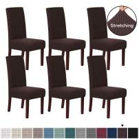 H.VERSAILTEX Stretch Dining Chair Covers Chair Covers for Dining Room Set of 6 Parson Chair Covers Slipcovers Chair Protectors Covers Dining, Feature Textured Checked Jacquard Fabric, Chocolate