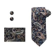 Dan Smith Men's Fashion Cotton Necktie Cufflinks Hanky with Free Gift Box