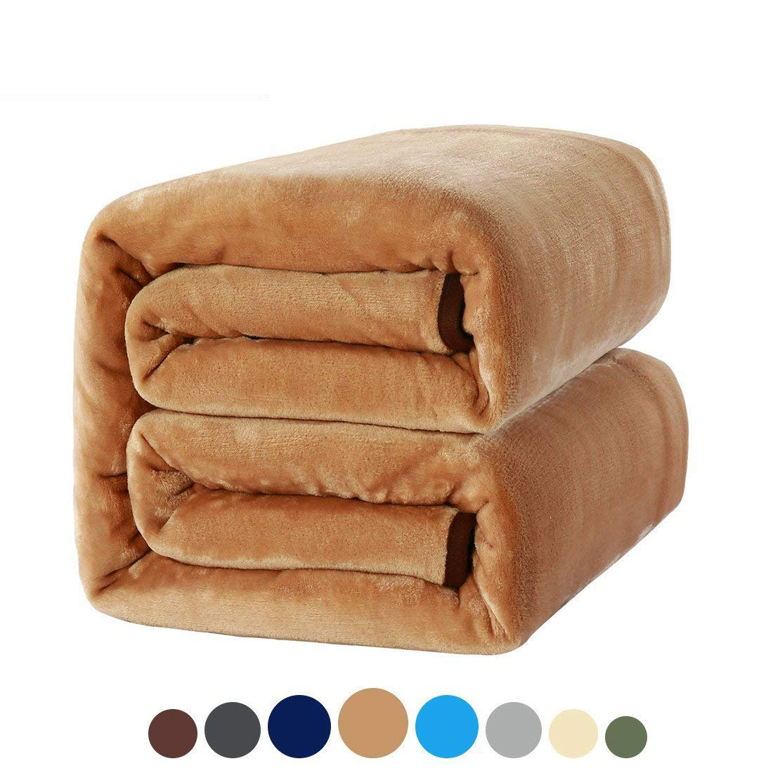 MEROUS Soft Twin Size Fleece Bed Blanket 330 GSM Warm Cozy Microfiber Fuzzy Lightweight All Season Blanket for Couch Travel Sofa,Tan.