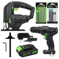GALAX PRO Max 20V Cordless Combo Kit, 20N.m Single Speed Drill Driver, Cordless Jig Saw 0-25000SPM, Battery Pack 1.3Ah with Charger, 5PCS Drill Bits & 8PCS T-Saw Blades, Hex Key, Rule Guide