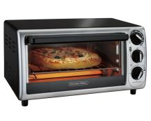Proctor Silex 4-Slice Modern Countertop Toaster Oven with Bake Pan, Black (31122)