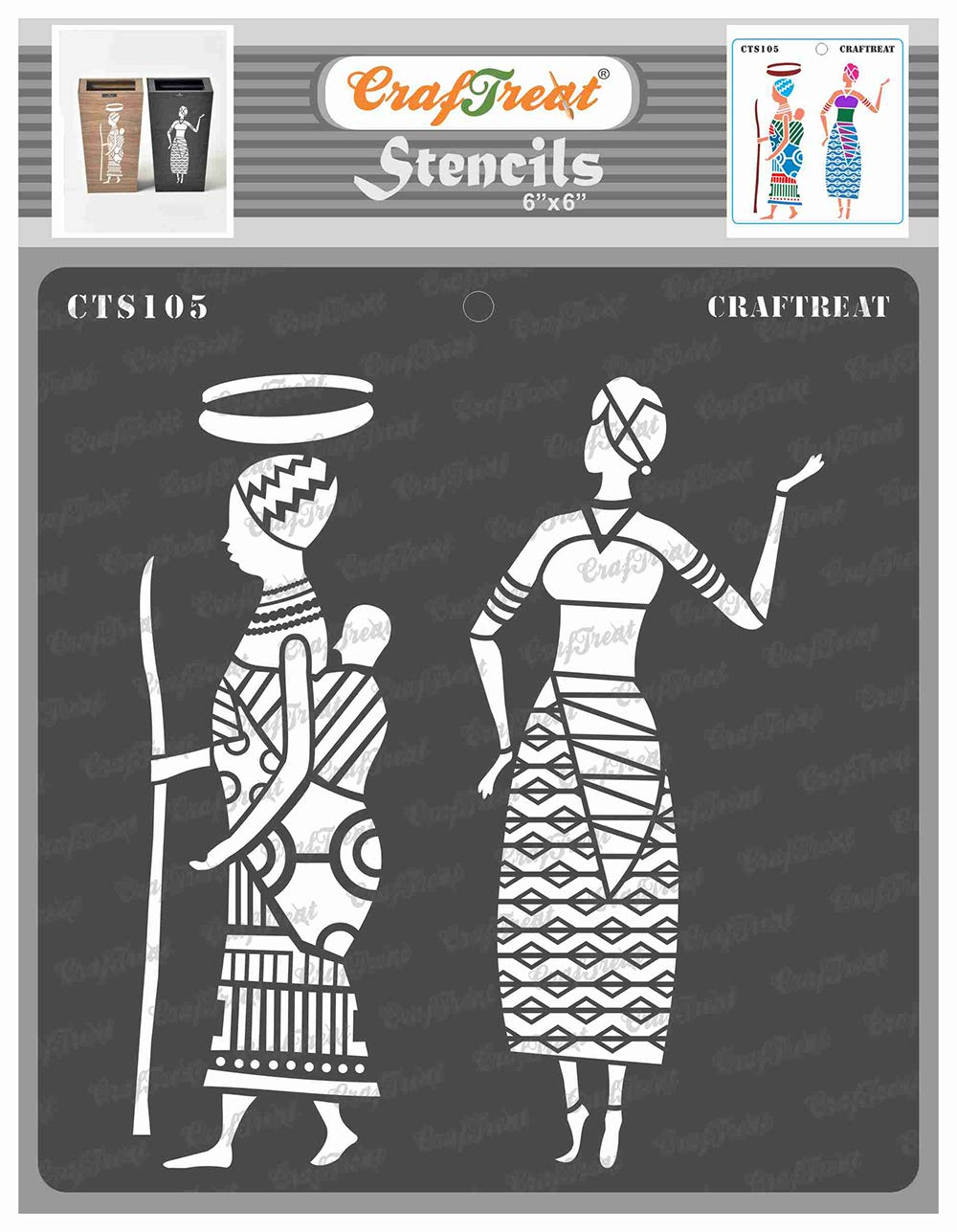 CrafTreat Tribal Stencils for Painting on Wood, Wall, Tile, Canvas, Paper, Fabric and Floor - Tribal Errands - 6x6 Inches - Reusable DIY Art and Craft Stencils - African Girls Stencil