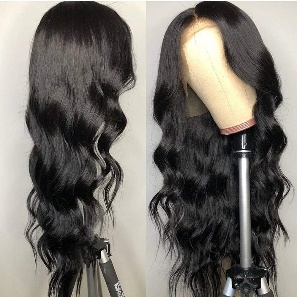 BEEOS Transparent 13x6 Lace Front Wig Pre Plucked and Bleached Knots Hairline, 150% Density Body Wave Invisible Lace Human Hair Wigs for Black Women (24 Inch)