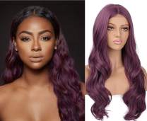 aSulis Purple Wavy Wigs for Women Lace Hairline Wigs Middle Part Wig Heat Resistant Hair for Party Daily Cosplay Use (Purple)