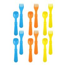 RE-PLAY Made in The USA 12pk Fork and Spoon Utensil Set for Easy Baby, Toddler, and Child Feeding in Sky Blue, Orange and Yellow | Made from Eco Friendly Heavyweight Recycled Milk Jugs | (Spring)