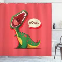 "Ambesonne Dinosaur Shower Curtain, Aggressive Prehistoric Cartoon Animal Roaring Open Mouth Wildlife Image, Cloth Fabric Bathroom Decor Set with Hooks, 75"" Long, Coral Green"