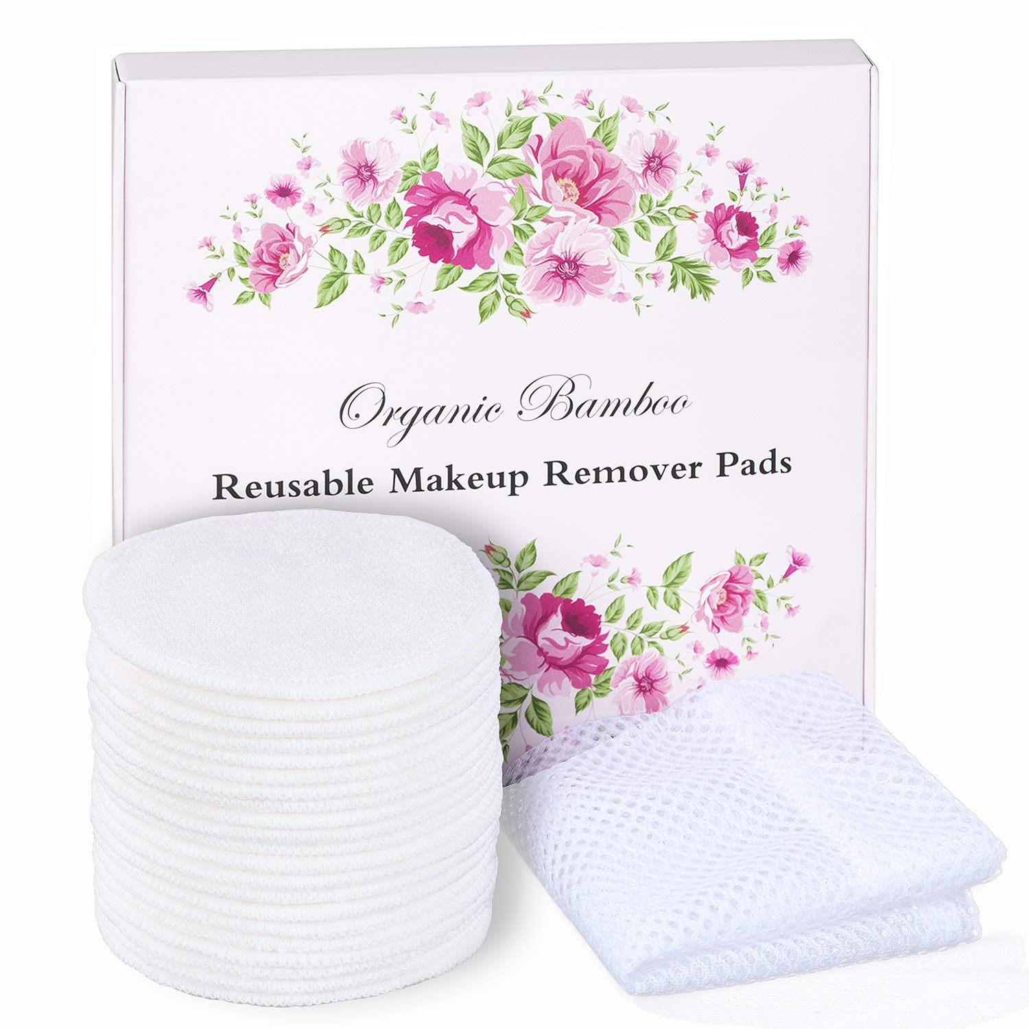 20 Packs Organic Reusable Makeup Remover Pads,washable Natural Bamboo Cotton Rounds -reusable cotton pads for face wipes with laundry bag