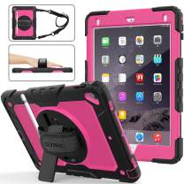 iPad 6th/5th Generation Case, SEYMAC Stock [Full-Body] Drop Proof Hybrid Armor Case with 360 Rotating Stand [Pencil Holder][Screen Protector] Hand Strap for iPad 6th/5th/ Air 2/ Pro 9.7 (Rose+Black)