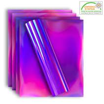 Holographic Stretchable Metallic Heat Transfer Vinyl Iridescent Pink Foil, Iron On HTV Bundle for DIY Your Own Clothes, 12x10 Inch, Pack of 5 Sheets, Eco-Friendly