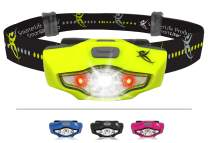 SmarterLife Products LED Headlamp Flashlight - 4 White, 2 Red LED Head Lamp Modes - Only 1 Battery, Lightweight, IPX6 Waterproof - The Headlight Flashlight for Running, Camping, Hiking, DIY Projects