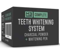 M3 Naturals Activated Charcoal Powder 4oz + Teeth Whitening Pen 2ml 44% Carbamide Peroxide All Natural Tooth Whitener Treatment No Sensitivity Painless Toothpaste Travel Friendly Mint Flavor