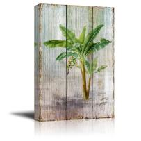 """wall26 - Canvas Prints Wall Art - Tropical Plant Blossom on Vintage Wood Background Rustic Home Decoration - 12"""" x 18"""""""