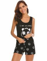 Ekouaer Women's Cat Panda Print Sleepwear Tank Top and Shorts Cotton Cute Pajama Set