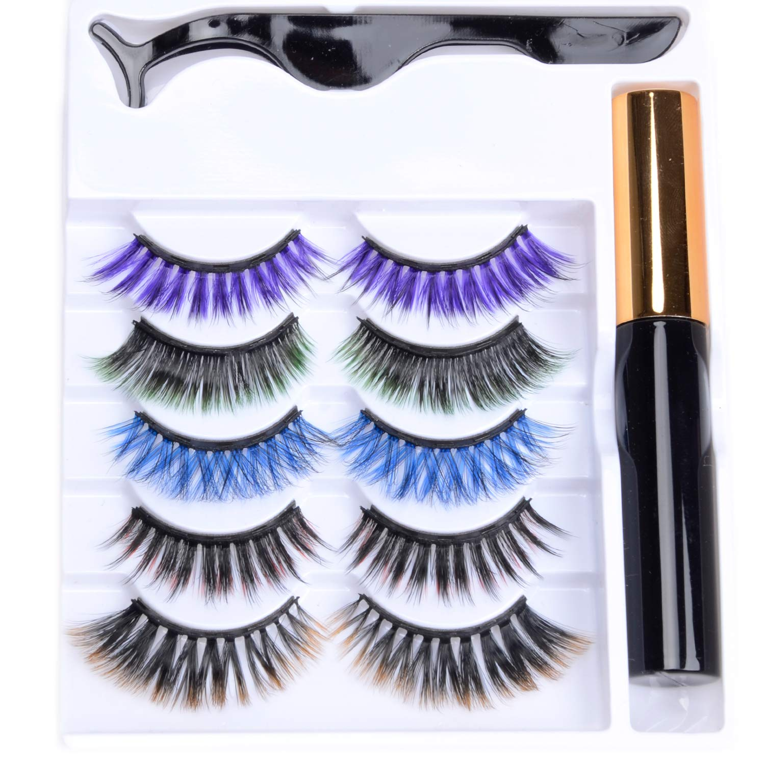 NAISIER Colorful Magnetic Eyeliner and Eyelashes Kit,Colorful Magnetic Eyeliner for Magnetic Eyelashes Set, 5 Pairs With Reusable Lashes [Colorful]