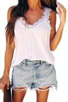 Viottiset Women's V Neck Sleeveless Lace Tank Tops Casual Loose Cami Blouse Shirts