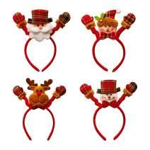 Vevins Christmas Headbands, 4 Pcs Headwear for Kids Women, Hair Accessory with Reindeer Antler & Santa Hat & Christmas Tree